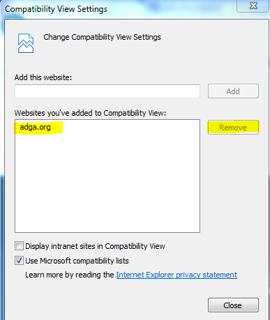 Remove ADGA.org from Compatibility View in Internet Explorer