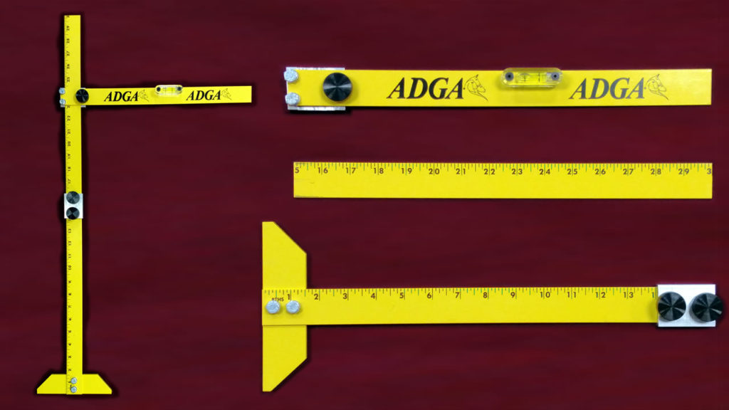 Photo of the ADGA Nigerian Dwarf Goat Measuring Stick assembled and disassembled.